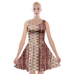 Wrinkly Batik Pattern Brown Beige Velvet Skater Dress