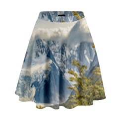 Snowy Andes Mountains, El Chalten Argentina High Waist Skirt