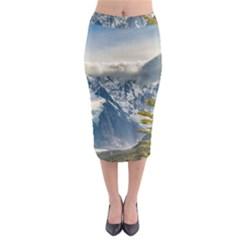 Snowy Andes Mountains, El Chalten Argentina Midi Pencil Skirt