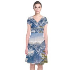 Snowy Andes Mountains, El Chalten Argentina Short Sleeve Front Wrap Dress