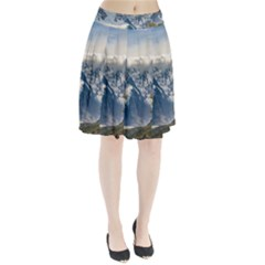 Snowy Andes Mountains, El Chalten Argentina Pleated Skirt