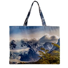 Snowy Andes Mountains, El Chalten Argentina Medium Zipper Tote Bag