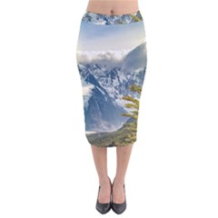 Snowy Andes Mountains, El Chalten Argentina Velvet Midi Pencil Skirt