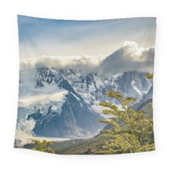 Snowy Andes Mountains, El Chalten Argentina Square Tapestry (large)
