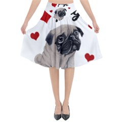 Love Pugs Flared Midi Skirt