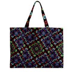 Colorful Floral Collage Pattern Medium Tote Bag