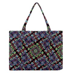 Colorful Floral Collage Pattern Medium Zipper Tote Bag