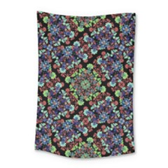 Colorful Floral Collage Pattern Small Tapestry
