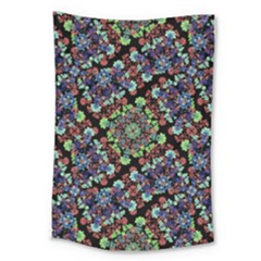 Colorful Floral Collage Pattern Large Tapestry