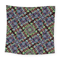 Colorful Floral Collage Pattern Square Tapestry (large)