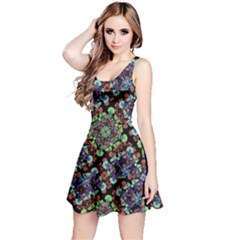 Colorful Floral Collage Pattern Reversible Sleeveless Dress