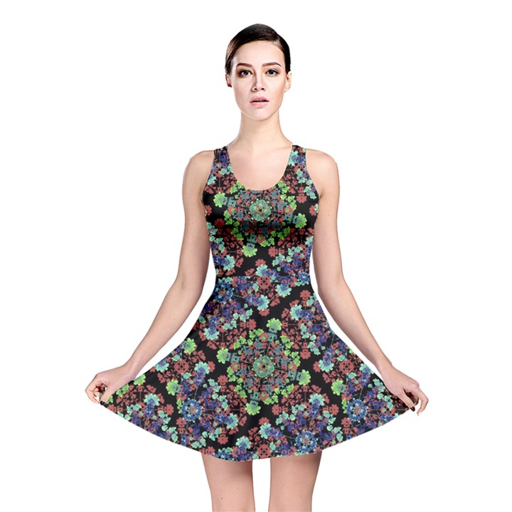 Colorful Floral Collage Pattern Reversible Skater Dress