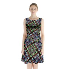 Colorful Floral Collage Pattern Sleeveless Waist Tie Chiffon Dress