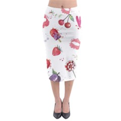 Hand Painted Summer Background  Midi Pencil Skirt