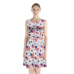 Flag Of The Usa Pattern Sleeveless Waist Tie Chiffon Dress