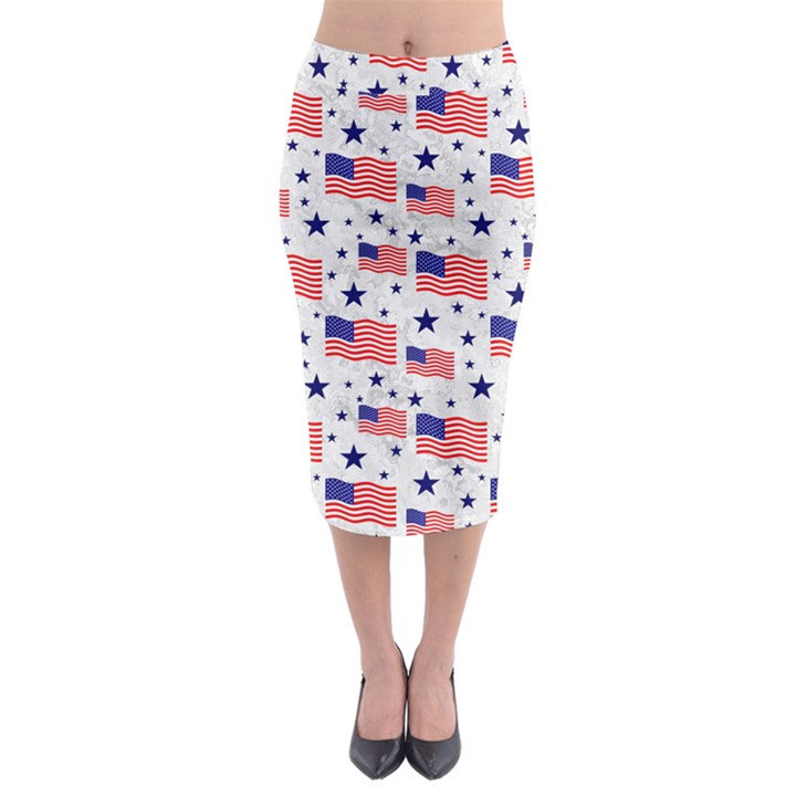 Flag Of The Usa Pattern Midi Pencil Skirt