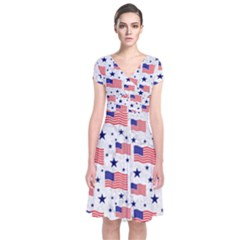 Flag Of The Usa Pattern Short Sleeve Front Wrap Dress