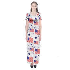 Flag Of The Usa Pattern Short Sleeve Maxi Dress