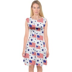 Flag Of The Usa Pattern Capsleeve Midi Dress