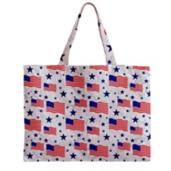 Flag Of The Usa Pattern Medium Zipper Tote Bag