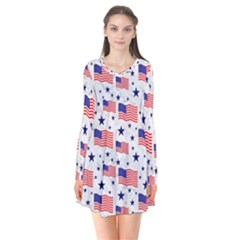 Flag Of The Usa Pattern Flare Dress