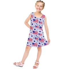 Flag Of The Usa Pattern Kids  Tunic Dress
