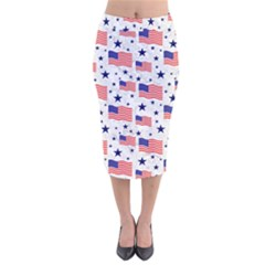 Flag Of The Usa Pattern Velvet Midi Pencil Skirt