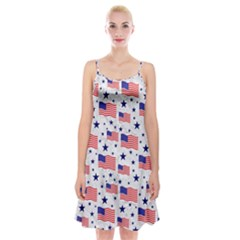 Flag Of The Usa Pattern Spaghetti Strap Velvet Dress