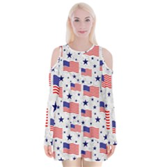 Flag Of The Usa Pattern Velvet Long Sleeve Shoulder Cutout Dress