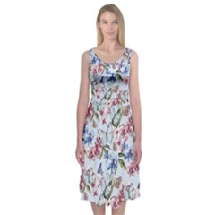 Watercolor Flowers Butterflies Pattern Blue Red Midi Sleeveless Dress