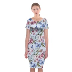 Watercolor Flowers Butterflies Pattern Blue Red Classic Short Sleeve Midi Dress