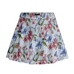 Watercolor Flowers Butterflies Pattern Blue Red Mini Flare Skirt