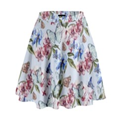 Watercolor Flowers Butterflies Pattern Blue Red High Waist Skirt