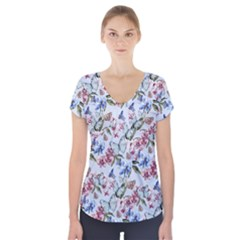 Watercolor Flowers Butterflies Pattern Blue Red Short Sleeve Front Detail Top