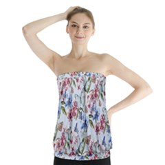 Watercolor Flowers Butterflies Pattern Blue Red Strapless Top