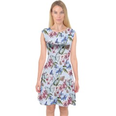 Watercolor Flowers Butterflies Pattern Blue Red Capsleeve Midi Dress