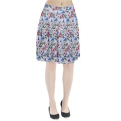 Watercolor Flowers Butterflies Pattern Blue Red Pleated Skirt