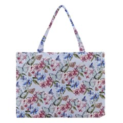 Watercolor Flowers Butterflies Pattern Blue Red Medium Tote Bag