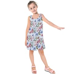 Watercolor Flowers Butterflies Pattern Blue Red Kids  Sleeveless Dress