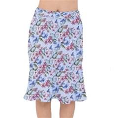 Watercolor Flowers Butterflies Pattern Blue Red Mermaid Skirt