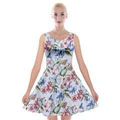 Watercolor Flowers Butterflies Pattern Blue Red Velvet Skater Dress
