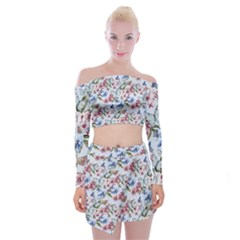 Watercolor Flowers Butterflies Pattern Blue Red Off Shoulder Top With Skirt Set