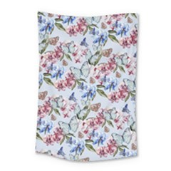 Watercolor Flowers Butterflies Pattern Blue Red Small Tapestry