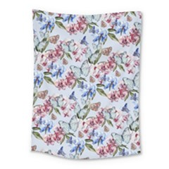 Watercolor Flowers Butterflies Pattern Blue Red Medium Tapestry