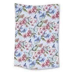 Watercolor Flowers Butterflies Pattern Blue Red Large Tapestry