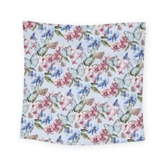 Watercolor Flowers Butterflies Pattern Blue Red Square Tapestry (small)