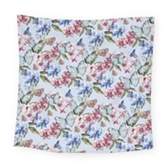 Watercolor Flowers Butterflies Pattern Blue Red Square Tapestry (large)