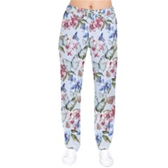 Watercolor Flowers Butterflies Pattern Blue Red Drawstring Pants