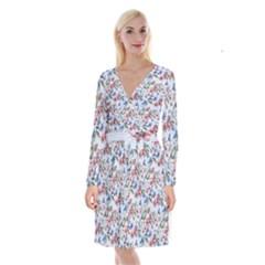 Watercolor Flowers Butterflies Pattern Blue Red Long Sleeve Velvet Front Wrap Dress
