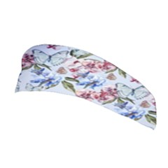 Watercolor Flowers Butterflies Pattern Blue Red Stretchable Headband